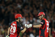 Daniel Harris and Cameron Borgas of the Redbacks during the Twenty20 Big Bash Final match between the South Australian Redbacks and the New South Wales Blues at Adelaide Oval on February 5, 2011 in Adelaide, Australia.