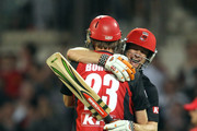 Daniel Harris and Cameron Borgas of the Redbacks celebrate after the Twenty20 Big Bash Final match between the South Australian Redbacks and the New South Wales Blues at Adelaide Oval on February 5, 2011 in Adelaide, Australia.