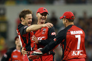 Daniel Harris of the Redbacks celebrates the wicket of Tom Beaton of the Warriors during the Twenty20 Big Bash match between the Western Australia Warriors and the South Australia Redbacks at the WACA on January 13, 2011 in Perth, Australia.