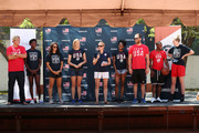 (L-R) Team USA athletes Jesse Smith, Ashleigh Johnson, Maggie Steffens, Dana Vollmer Lindsay Hogan, Kendall Ellis, Alex Bowen, Carlin Isles and Katie Lou Samuelson speak onstage during the celebration of the two year countdown to the 2020 Olympic Games in Tokyo at the Japanese American Community Center on July 24, 2018 in Los Angeles, California.