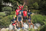 (L-R from top down) Team USA athletes Jesse Smith, Alex Bowen, Ashleigh Johnson, Carlin Isles, Maggie Steffens, Katie Lou Samuelson, Dana Vollmer and Kendall Ellis celebrate the two year countdown to the 2020 Olympic Games in Tokyo at the Japanese American Community Center on July 24, 2018 in Los Angeles, California.