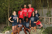 (L-R) Team USA athletes Dana Vollmer, Carlin Isles, Alex Bowen, Jesse Smith (front row) Kendall Ellis, Ashleigh Johnson, Maggie Steffens and Katie Lou Samuelson celebrate the two year countdown to the 2020 Olympic Games in Tokyo at the Japanese American Community Center on July 24, 2018 in Los Angeles, California.