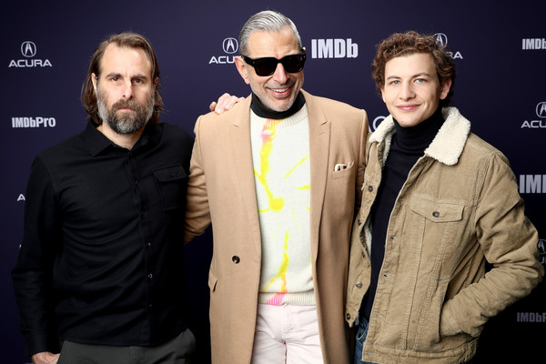 The IMDb Studio At Acura Festival Village On Location At The 2019 Sundance Film Festival – Day 4 [the mountain,eyewear,facial hair,premiere,event,cool,beard,performance,glasses,l-r,jeff goldblum,tye sheridan,rick alverson,location,utah,imdb studio at acura festival village on location,imdb studio,sundance film festival]