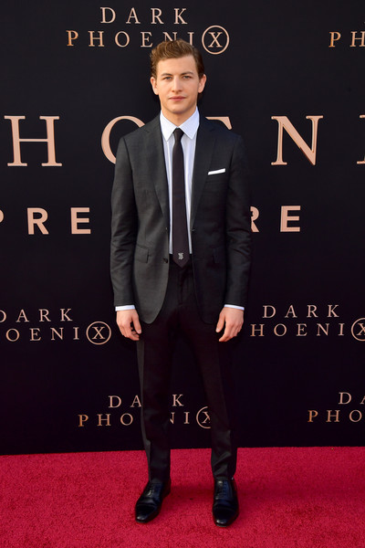 "Premiere Of 20th Century Fox's ""Dark Phoenix"" - Arrivals [suit,carpet,tuxedo,formal wear,premiere,red carpet,font,flooring,white-collar worker,tie,arrivals,tye sheridan,dark phoenix,california,hollywood,tcl chinese theatre,20th century fox,premiere,premiere]"