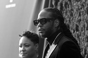 Image was shot in black and white.) Kesha Ward and 2 Chainz attend Tyler Perry Studios grand opening gala at Tyler Perry Studios on October 05, 2019 in Atlanta, Georgia.
