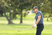 Justin Rose of England chips to a green during a practice round prior to the 120th U.S. Open Championship on September 15, 2020 at Winged Foot Golf Club in Mamaroneck, New York.
