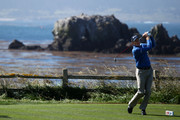 Jim Furyk hits his shot on the 18th hole during the first round of the 110th U.S. Open at Pebble Beach Golf Links on June 17, 2010 in Pebble Beach, California.