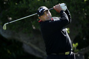 Angel Cabrera of Argentina hits a tee shot on the 16th hole during the first round of the 110th U.S. Open at Pebble Beach Golf Links on June 17, 2010 in Pebble Beach, California.