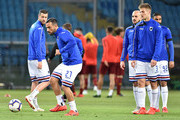 UC Sampdoria players with Fabio Quagliarella during the training session before the Serie A match between UC Sampdoria and AS Roma at Stadio Luigi Ferraris on April 6, 2019 in Genoa, Italy.