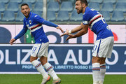 Fabio Quagliarella and Gianluca Caprari of UC Sampdoria during the Serie A match between UC Sampdoria and Atalanta BC at Stadio Luigi Ferraris on November 10, 2019 in Genoa, Italy.