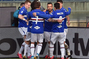 UC Sampdoria players celebrate with Fabio Quagliarella after penalty during the Serie A match between UC Sampdoria and  Hellas Verona at Stadio Luigi Ferraris on March 8, 2020 in Genoa, Italy.