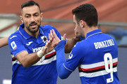 Fabio Quagliarella of UC Sampdoria celebrates with Federico Bonazzoli during the Serie A match between UC Sampdoria and  Hellas Verona at Stadio Luigi Ferraris on March 8, 2020 in Genoa, Italy.