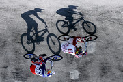 Image has been rotated.)  Maris Strombergs #81 of Latvia and Joris Daudet #31 of France compete in Heat 6 of the Mens Elite UCI BMX Supercross World Cup held at the Papendal Outdoor Olympic Training Centre on May 10, 2015 in Arnhem, Netherlands.