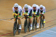 Jack Bobridge, Luke Davison, Alexander Edmondson and Mitchell Mulhern of Australia compete in the Men's Team Pursuit qualifying round during day one of the UCI Track Cycling World Championships at the National Velodrome on February 18, 2015 in Paris, France.