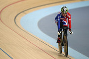 Victoria Pendleton of Great Britain rides in a training session ahead of the UCI Track Cycling World Cup - LOCOG Test Event for London 2012 Media Day at the London Olympic Velodrome on February 14, 2012 in London, England.