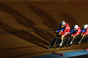 The Great Britain team of Steven Burke, Ed Clancy, Peter Kennaugh and Geraint Thomas ride in the Men's Team Pursuit during the UCI Track Cycling World Cup - LOCOG Test Event for London 2012 at the Olympic Velodrome on February 19, 2012 in London, England.