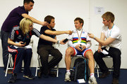 Jason Kenny of Great Britain talks to the press after being presented with the Sprint World Champion's Rainbow jersey on day one of the UCI Track Cycling World Cup - LOCOG Test Event for London 2012 at the 2012 Olympic Velodrome on February 16, 2012 in London, England. Race winner Gregory Bauge was stripped of his medal after missing a drug test. As a result, Jason Kenny has moved up from his individual sprint silver medal position to gold, with Chris Hoy rising from bronze to silver medal position.