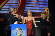 (L-R) Fernanda Liz, Josie Canseco and Alina Baikova speak onstage at the UCLA IoES honors Barbra Streisand and Gisele Bundchen at the 2019 Hollywood for Science Gala on February 21, 2019 in Beverly Hills, California.