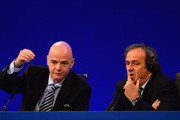 UEFA General Secretary, Gianni Infantino and UEFA President Michel Platini speak to the media during a Press Conference at the XXXVII Ordinary UEFA Congress at the Grovesnor House Hotel on May 24, 2013 in London, United Kingdom.