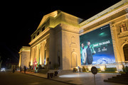 Heinekenn Ambassador Ruud Van Nistelrooy is featured on an advertisement outside the UEFA Champions League Trophy Tour presented by Heinekenn on April 3, 2017 in Phnom Penh, Cambodia.