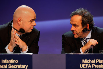 Michel Platini Gianni Infantino UEFA Congress Takes Place In Israel