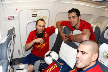 Andres Iniesta Victor Valdes UEFA EURO 2012 Champions Spain Victory Parade And Celebrations