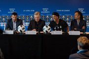 Luis Figo, former Portuguese and Real Madrid player, Head Coach Carlo Ancelotti, Ronaldinho, Former Brazil and Barcelona player and Christian Karembeu during a press conference for Match for Solidarity on April 20, 2018 at Grand Hotel Kempinski in Geneva, Switzerland.
