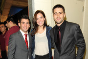 Actress Mandy Moore (C) and mixed martial arts fighters Dominick Cruz (L) and Carlos Condit (R) attend UFC on Fox:  Live Heavyweight Championship at the Honda Center on November 12, 2011 in Anaheim, California.