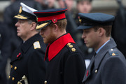 (L-R) Prince Andrew, Prince Harry and Prince William, Duke of Cambridge attend the annual Remembrance Sunday Service at the Cenotaph on Whitehall on November 8, 2015 in London, United Kingdom. People across the UK gather to pay tribute to service personnel who have died in the two World Wars and subsequent conflicts.