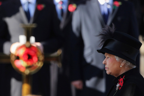 Queen Elizabeth II waits to lay a wreath at the Cenotaph during Remembrance Sunday in Whitehall on November 11, 2012 in London, United Kingdom. Remembrance Sunday tributes were carried out across the nation to pay respects to all who those who lost their lives in current and past conflicts, including the First and Second World Wars.