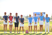 USA and Sweden players line up for the national anthem prior to the Pool B match between USA and Sweden on day one of the UL International Crown at Jack Nicklaus Golf Club on October 4, 2018 in Incheon, South Korea.