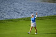 So Yeon Ryu of South Korea waves to fans on the 17th fairway during the Singles match against Lexi Thompson of the United States on day four of the UL International Crown at Jack Nicklaus Golf Club on October 7, 2018 in Incheon, South Korea.