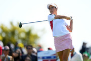 Georgia Hall of England hits a tee shot on the 9th hole during the Singles match against Cristie Kerr of the United States on day four of the UL International Crown at Jack Nicklaus Golf Club on October 7, 2018 in Incheon, South Korea.