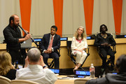 (L-R) Kinan Azmeh, Ken Payumo, Pernille Ironside and Emmanuel Jal speak at the UN Celebrates World Humanitarian Day at United Nations on August 19, 2014 in New York City.