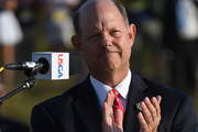 U.S. Golf Association CEO Mike Davis speaks during the trophy presentation after the final round of the 2018 U.S. Open at Shinnecock Hills Golf Club on June 17, 2018 in Southampton, New York.