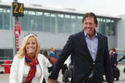 Phil Mickelson of the United States and wife Amy Mickelson arrive at Edinburgh Airport ahead of the 2014 Ryder Cup at Gleneagles on September 22, 2014 in Edinburgh, Scotland.
