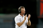 Head Coach Tommy Tuberville of the Cincinnati Bearcats congratulates his players after making a defensive stop during the second quarter of the game against the Tennessee-Martin Skyhawks at Nippert Stadium on September 1, 2016 in Cincinnati, Ohio.