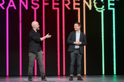 Benoit Richer, game director of 'Transference' (L) and Elijah Wood, creative director of SpectreVision, speaks onstage during the Ubisoft E3 conference at Orpheum Theatre on June 11, 2018 in Los Angeles, California.