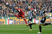 Stephan El Shaarawy (L) of AS Roma in acton during the serie A match between Udinese Calcio and AS Roma at Stadio Friuli on February 17, 2018 in Udine, Italy.