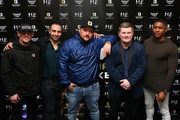 (L-R) Anthony Crolla, Paulie Malignaggi, Charlie Sloth, Ricky Hatton and Rickie Haywood Williams pose for a photo during the Ultimate Boxxer Launch at the ME London Hotel on February 5, 2018 in London, England.