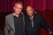 """Moderator Nic Harcourt and composer Quincy Jones attend a special screening of A&E Entertainment's """"Under African Skies"""" on June 8, 2012 in Los Angeles, California."""