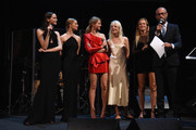 (L-R) Mina Cvetkovic, Anna Ewers, Sasha Luss, Hanne Gaby, Natasa Vojnovic and Andy Boose speak onstage at the Unitas gala against Sex Trafficking at Capitale on September 15, 2015 in New York City.