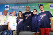 (L-R) Coach Eddie Reese, coach Jack Bauerle, Rebecca Soni, Jason Lezak, Natalie Coughlin and Ryan Lochte of the United States pose for a photo during a press conference on Day Eight of the 14th FINA World Championships at the Main Press Center of the Oriental Sports Center on July 23, 2011 in Shanghai, China.
