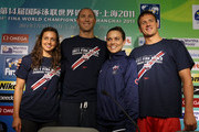 (L-R) Rebecca Soni, Jason Lezak, Natalie Coughlin and Ryan Lochte of the United States pose for a photo during a press conference on Day Eight of the 14th FINA World Championships at the Main Press Center of the Oriental Sports Center on July 23, 2011 in Shanghai, China.