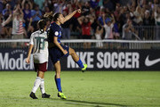 Tobin Heath #17 of USA reacts after scoring a goal against Mexico during the Group A - CONCACAF Women's Championship at WakeMed Soccer Park on October 4, 2018 in Cary, North Carolina.