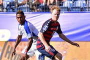 Edgar Yoel Barcenas #8 of Panama and Dax McCarty #13 of USA watch the ball during the first half of a CONCACAF Gold Cup Soccer match at Nissan Stadium on July 8, 2017 in Nashville, Tennessee.