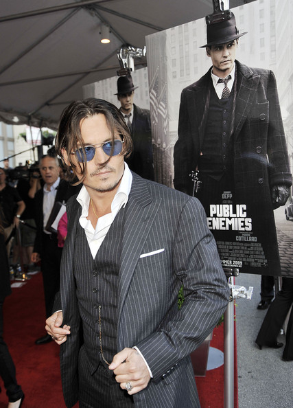 johnny depp public enemies hairstyle. johnny depp public enemies haircut. johnny depp red carpet