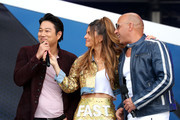 (L-R) Sung Kang, Maria Menounos and Vin Diesel speak onstage during Universal Pictures Presents The Road To F9 Concert and Trailer Drop on January 31, 2020 in Miami, Florida.