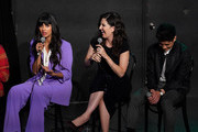 """Jameela Jamil, D'Arcy Carden and Manny Jacinto speak at Universal Television's """"The Good Place"""" FYC panel at UCB Sunset Theater on June 17, 2019 in Los Angeles, California."""