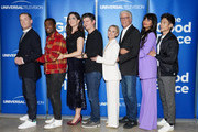 """(L-R) Marc Evan Jackson, William Jackson Harper, D'Arcy Carden, Michael Schur, Kristen Bell, Ted Danson, Jameela Jamil and Manny Jacinto attend Universal Television's """"The Good Place"""" FYC at UCB Sunset Theater on June 17, 2019 in Los Angeles, California."""
